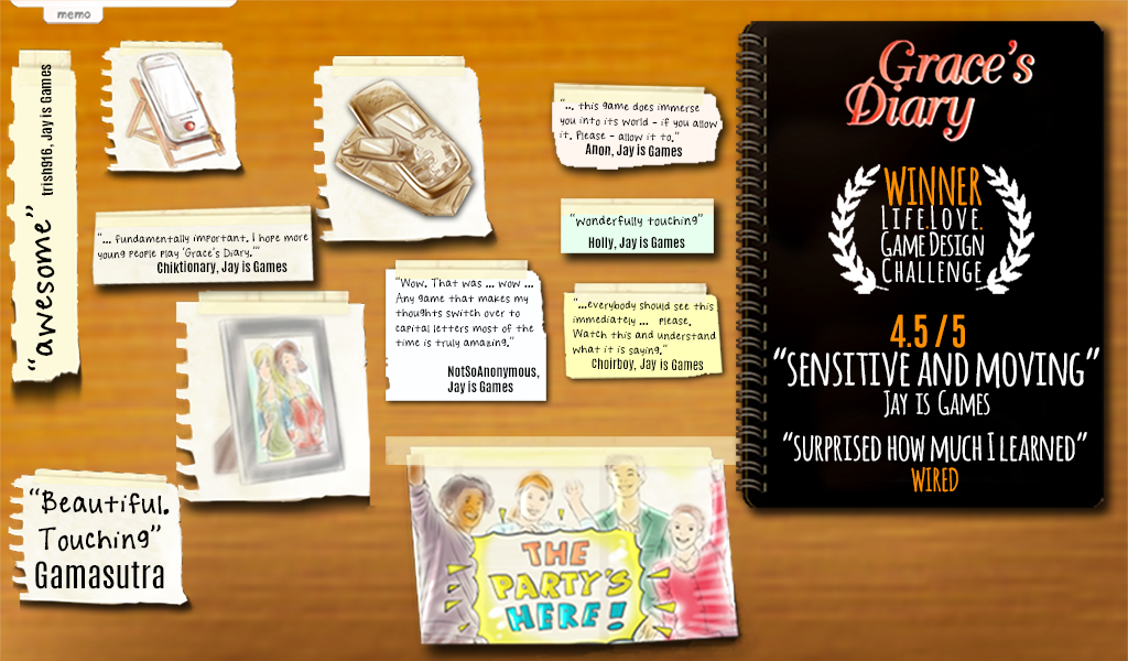 Screenshot of Grace's Diary, the 2010 award winning video game to prevent teen dating violence.